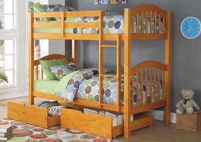Heartland Honey Oak Twin/Twin Bunk Bed w/Storage