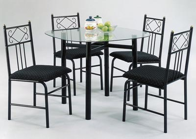 Penelope Black/Clear Glass Dining Set (Set of 5)