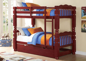 Benji Cherry Twin/Twin Bunk Bed