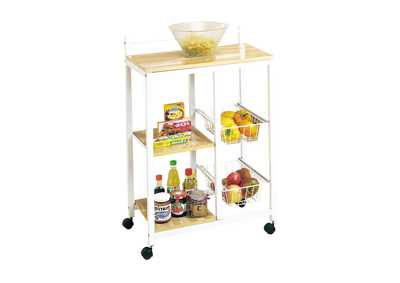 Sitara White & Natural Kitchen Cart