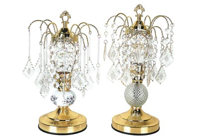Chandelier Gold & Glass Table Lamp (Set of 2)