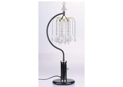 Chandelier Black Crystalline Table Lamp