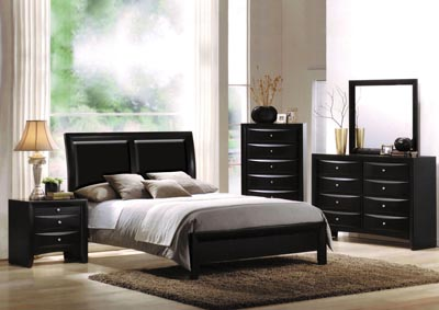 Image for Ireland I Black Queen Platform Bed w/Dresser and Mirror