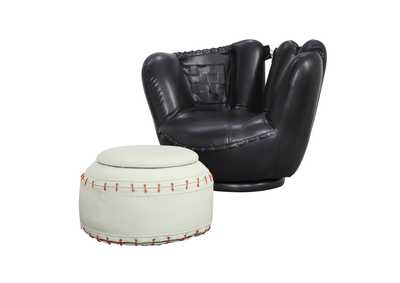 Image for All Star Baseball Black/White Ottoman Chair and Ottoman (Set of 2)