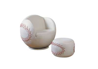 All Star Baseball White Chair and Ottoman (Set of 2)