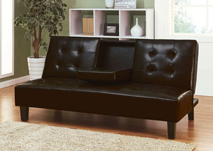 Barron Espresso PU Adjustable Sofa w/Drop Back and Cup Holders
