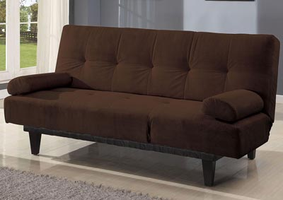 Cybil Black Microfiber Adjustable Sofa w/2 Pillows