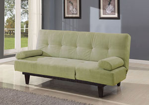 Cybil Apple Green Microfiber Adjustable Sofa w/2 Pillows