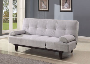 Cybil Silver Microfiber Adjustable Sofa w/2 Pillows