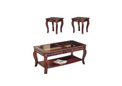 Image for Overture Cherry/Smoky Glass Occational Table Set (Set of 3)