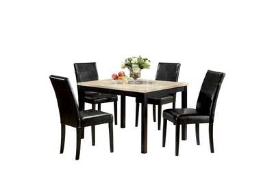 Portland White/Black Dining Set (Set of 5)