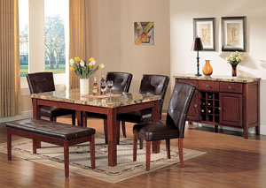 Bologna Brown Marble/Brown Dining Table