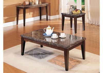 Danville Black Marble/Walnut End Table