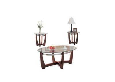 Baldwin Walnut and Clear Glass 3 Piece Table Set