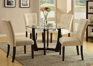 Baldwin Beige Microfiber & Walnut Side Chair (Set of 2)
