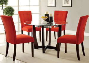 Baldwin Red Microfiber & Walnut Side Chair (Set of 2)