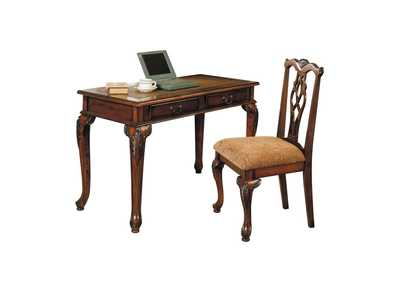 Aristocrat Dark Brown Cherry 2 Piece Pk Desk and Chair