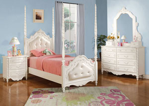 Pearl White Full Post and Tufted Bed