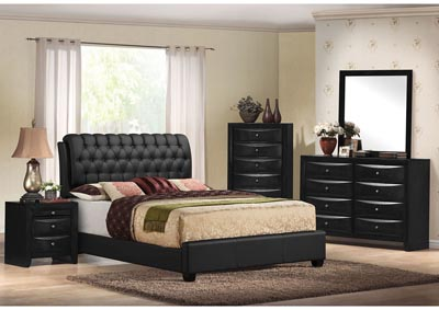 Image for Ireland II Black Upholstered Eastern King Bed w/Dresser and Mirror