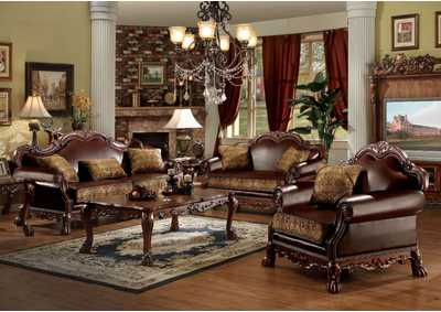Dresden Brown PU & Chenille, Cherry Oak Sofa w/3 Pillows