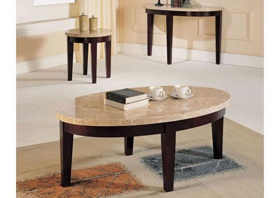 Britney White Marble/Walnut End Table