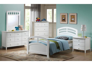 San Marino White Twin Panel Bed