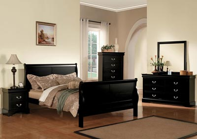 Louis Philippe III Black California King Bed