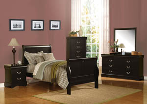 Louis Philippe III Black Twin Sleigh Bed