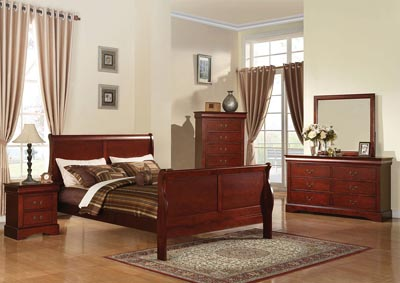 Image for Louis Philippe III Cherry California King Sleigh Bed w/Dresser and Mirror