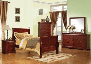 Louis Philippe III Cherry Twin Sleigh Bed