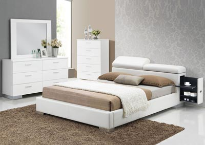 Manjot White California King Platform Bed