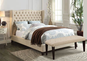 Image for Faye Beige/Espresso California King Upholstered Bed