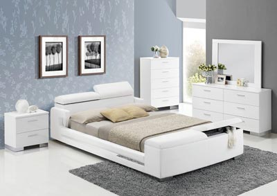 Layla White PU Leather Eastern King Storage Bed