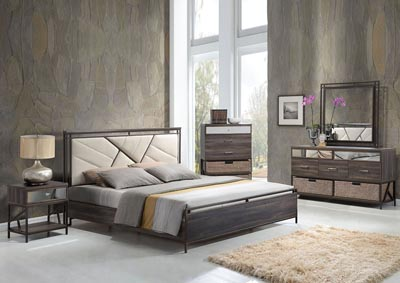 Image for Adrianna Cream/Walnut Queen Upholstered Bed