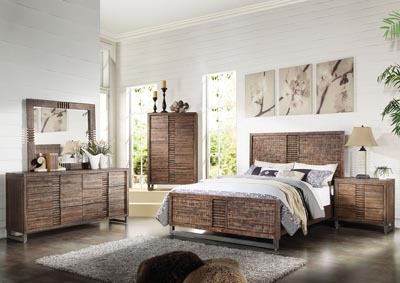 Andria Reclaimed Oak California King Panel Bed