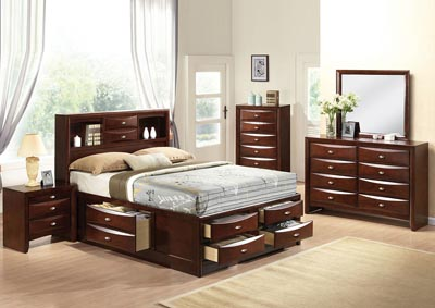 Ireland Espresso Queen Storage Bed w/Dresser & Mirror