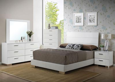 Lorimar White Queen Platform Bed w/Dresser and Mirror