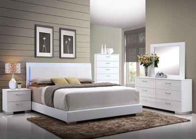 Image for Lorimar White Eastern King LED Platform Bed w/Dresser and Mirror