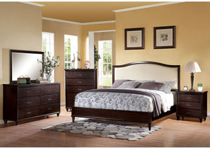 Raleigh Cream PU and Cherry California King Upholstered Platform Bed