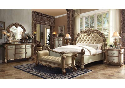 Vendome Bone/Gold Patina Eastern King Upholstered Bed w/Dresser and Mirror