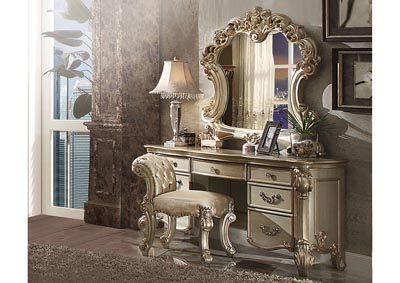 Image for Vendome Gold Patina/Bone Vanity Stool