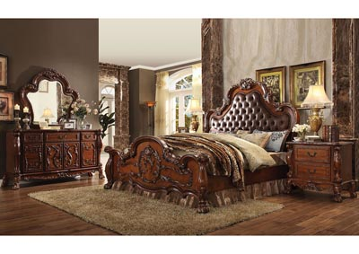 Dresden Cherry Oak & PU Leather Eastern King Upholstered Bed w/Dresser & Mirror