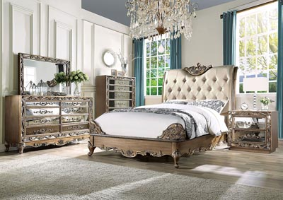 Orianne Gold Eastern King Upholstered Bed w/Dresser & Mirror