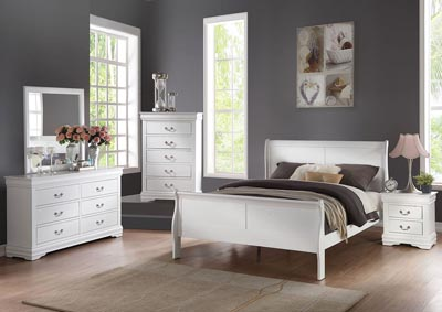 Louis Philippe White California King Bed