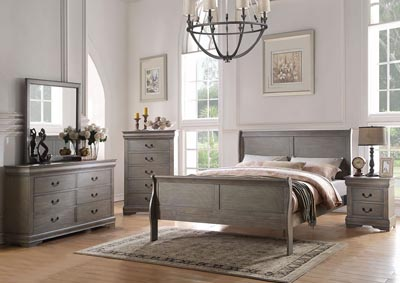 Louis Philippe Antique Gray California King Bed