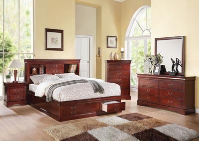 Louis Philippe III Cherry Eastern King Storage Bed