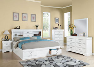 Louis Philippe III White California King Storage Bed