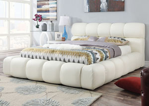 Acacia Ivory PU Queen Platform Bed