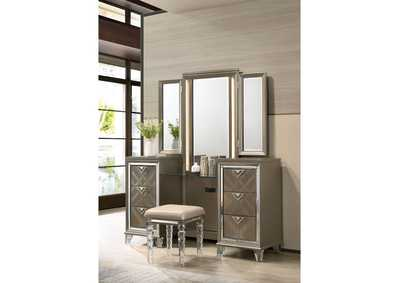 Skylar Champagne Vanity Desk Mirror and Stool