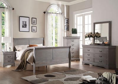 Louis Philippe III Antique Gray Eastern King Sleigh Bed w/Dresser & Mirror